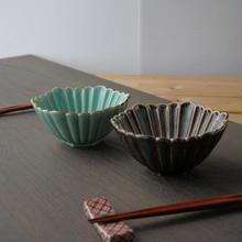 【孔雀】くじゃく組鉢 13x6cm トルコ色(ターコイズブルー)・茶色 美濃焼 品番:bl-5536192