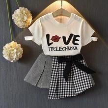 Tシャツ+チェックスカートSET