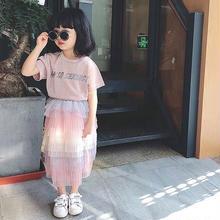 英字ラメTシャツ+フリルチュールスカートSET