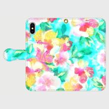 名入れオプション可!手帳型・水彩花スマフォケース・ティファニーブルー色