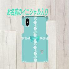 iphone イニシャル入り★ラインレース&リボン柄♡スマフォケース・♪iPhone 5/5 s/ 5c/ 6/ 6s/ 7/ 8/ SE/ X対応