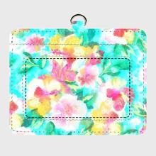 水彩花柄ティファニーブルーのパスケース