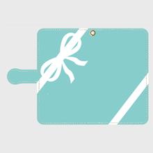 iphone &Android S/M★名入れオプション可!手帳型コーナリボン柄スマフォケース・ティファニーブルー色