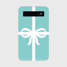 名入れオプション可♡ティファニーブルーのリボンギフトボックス柄モバイルバッテリー