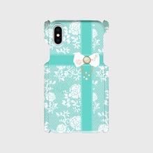 Android/ iphone Plusティファニーブルーのローズレース&ステッチリボン柄♡スマフォケース・♪Android&iPhone 6Plus/6sPlus/7Plus/8Plus対応
