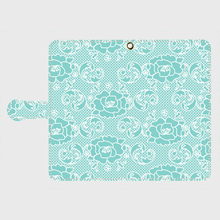 名入れオプション可!手帳型・薔薇レース柄スマフォケース・ティファニーブルー色