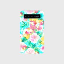 名入れオプション可♡ティファニーブルーの水彩花柄モバイルバッテリー