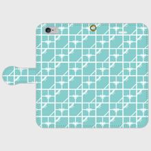 名入れオプション可♡ティファニーブルーのタイル柄・手帳型スマフォケース♪iPhone5~7、Galaxy、Xperia など対応機種多数あり(説明欄に記載)