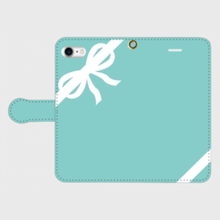 名入れオプション可!手帳型リボン柄スマフォケース・ティファニーブルー色