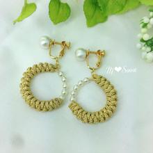 【 moon − gold・mini】 コットンパール* ピアス&イヤリング