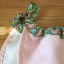 淡いピンクに細かい白のドット×LIBERTY 黄緑にピンクの花