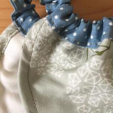 モスグリーン紫陽花 × ブルーグレーに白のドット