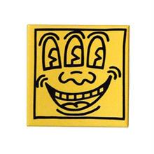 Keith Haring Rectangular Magnet (Three Eyed Face)  Yellow