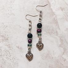 silver heart stone chain pierce