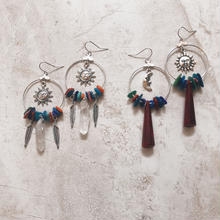 colorful shell silver hoop pierce