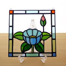 ステンドグラス ミニパネル 華・ブルー 15cm