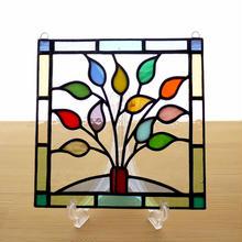 ステンドグラス ミニパネル リーフ(d) 15cm