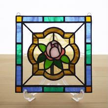 ステンドグラス ミニパネル ローズバッド 15cm