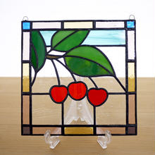 ステンドグラス ミニパネル サクランボ 15cm