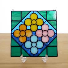ステンドグラス ミニパネル 花壇・ブルー系 15cm