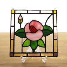 ステンドグラス ミニパネル フラワー・ピンク系 15cm