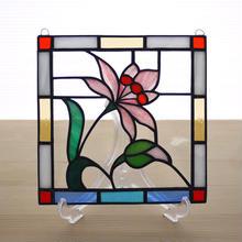 ステンドグラス ミニパネル 野花 15cm