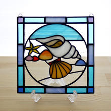 ステンドグラス ミニパネル 貝殻 15cm
