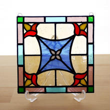 ステンドグラス ミニパネル 花紋 15cm
