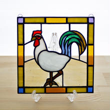 ステンドグラス ミニパネル ニワトリ 15cm