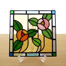 ステンドグラス ミニパネル フラワー・オレンジ 15cm