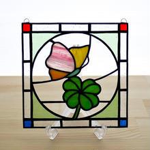 ステンドグラス ミニパネル クローバー 15cm