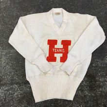 VINTAGE 50's lettered  knit ''H TENNIS''