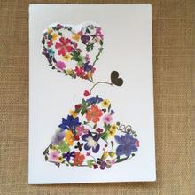 メッセージカード ハートのペア(2つ折り/封筒付)
