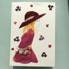 メッセージカード 帽子の少女(2つ折り/封筒付)