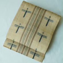 【夏・逸品帯】縞に十字絣芭蕉布なごや帯