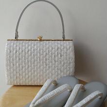【バッグ&草履】ホワイトシルバーバッグと草履のセット