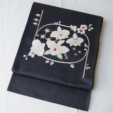 【ふくろ帯】黒地に蘭花の刺繍袋帯
