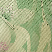【夏・絽】ライトグリーン地 秋草 鷺柄 訪問着