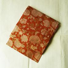 【なごや帯・アウトレット】赤茶色 牡丹唐草柄 織り