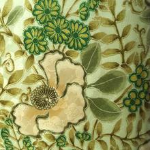 【袷】グリーン系 ボタニカル柄 洗える着物 小紋