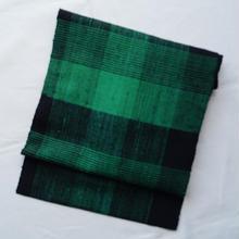【なごや帯】グリーン×ブラック格子柄なごや帯