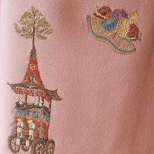 【袷】珊瑚色お祭り柄附下小紋