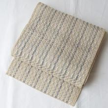 【夏・羅なごや帯】乳白色に濃淡の藍色縞 羅なごや帯