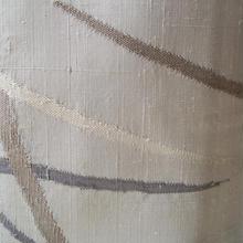【袷】トールサイズ 白練色 抽象文様の紬