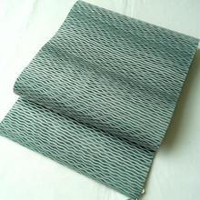 【なごや帯】青磁鼠色 無地 よろけ縞織文 八寸かがり