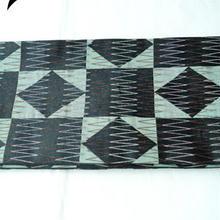 【半巾帯】黒×青磁色 幾何学文 リバーシブル 化繊