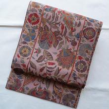 【なごや帯】赤白橡色に更紗文紬地なごや帯