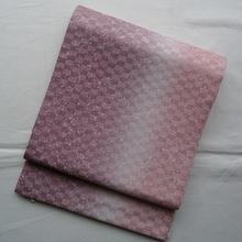 【ふくろ帯】たたき染渋桃色暈しに市松地紋の洒落袋帯