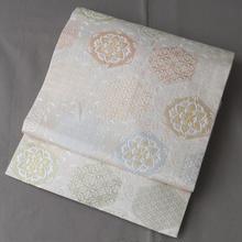 【なごや帯】生成り色系唐草と亀甲文様織り名古屋帯