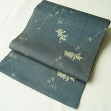 【なごや帯】出目金魚文 絽ちりめん 創作帯 古布使用